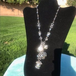 Silver ball charm necklace